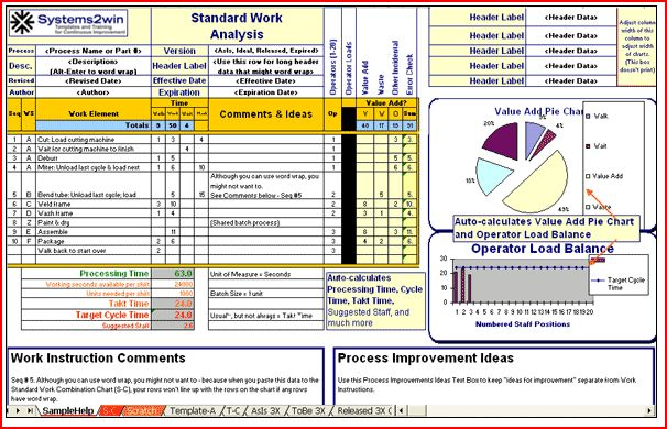 Easy to use lean six sigma software tools for Smed template