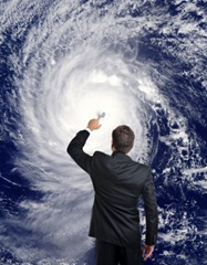 Meteorologist puts his finger on the eye of a Hurricane. Earth Image: visibleearth.nasa.gov